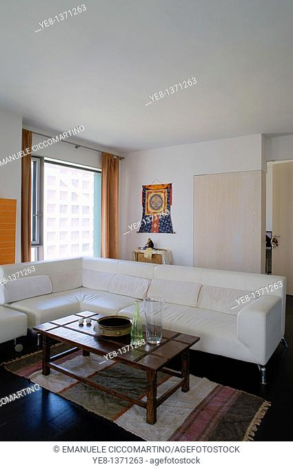 Interior of a unit, Moma Linked Hybrid complex by architect Steven Holl, 2009, Dongzhimen District, Beijing, China, Asia