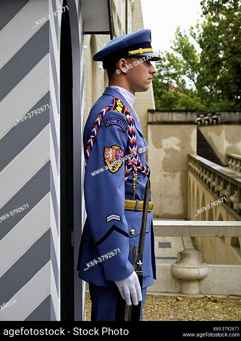 Guard. The Castle. . Prague. Czech Republic
