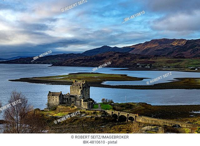 Eilean Donan Castle in the foreground with Loch Duich in the background, west Highlands, Scotland, United Kingdom