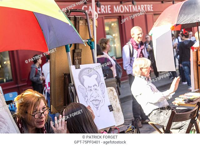 CARICATURISTS, PLACE DU TERTRE, BUTTE MONTMARTRE, 18TH ARRONDISSEMENT, PARIS, FRANCE