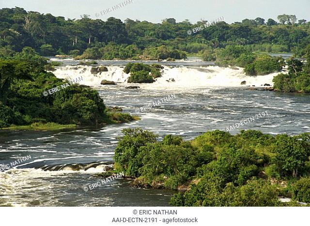 View of the Karuma Falls on the Victoria Nile River in Uganda