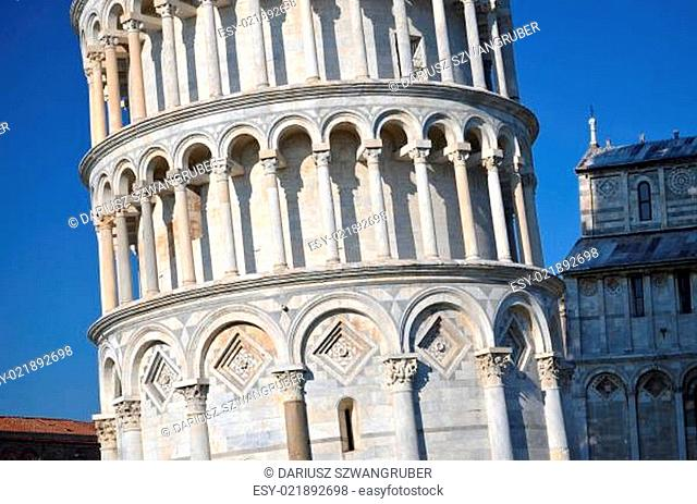 The famous Leaning Tower on Square of Miracles in Pisa, Tuscany - Italy
