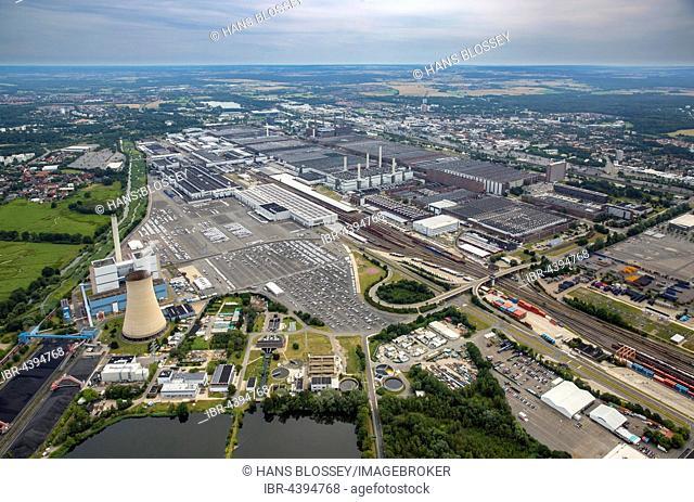 Aerial view, Volkswagen factory in Wolfsburg, Lower Saxony, Germany