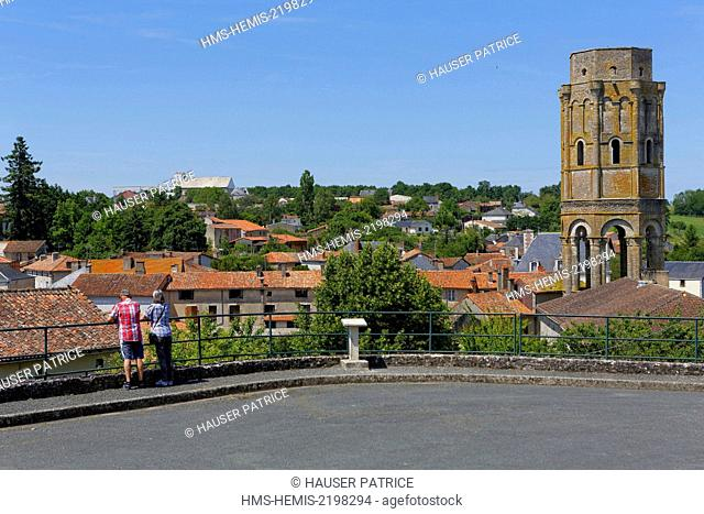 France, Vienne, Charroux, last vestige of the abbey of Saint Sauveur Charroux, lantern tower, said Charlemagne tower, dates from the 11th century