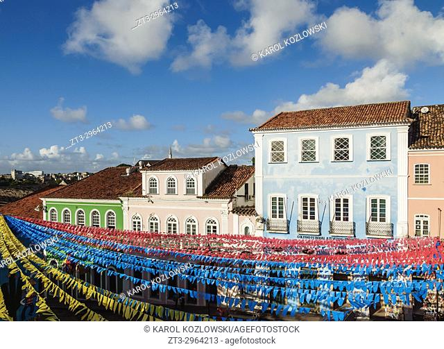 Sao Joao Festival Decorations on Largo do Pelourinho, elevated view, Salvador, State of Bahia, Brazil