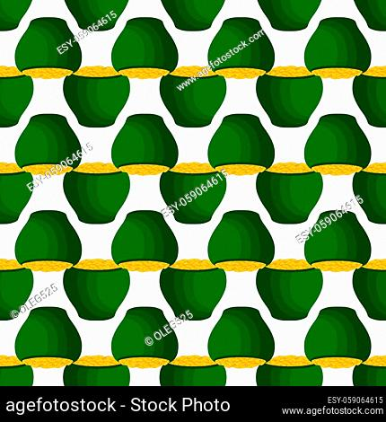Illustration on theme Irish holiday St Patrick day, seamless pot of coins. Pattern St Patrick day of many identical coins in pot on white background
