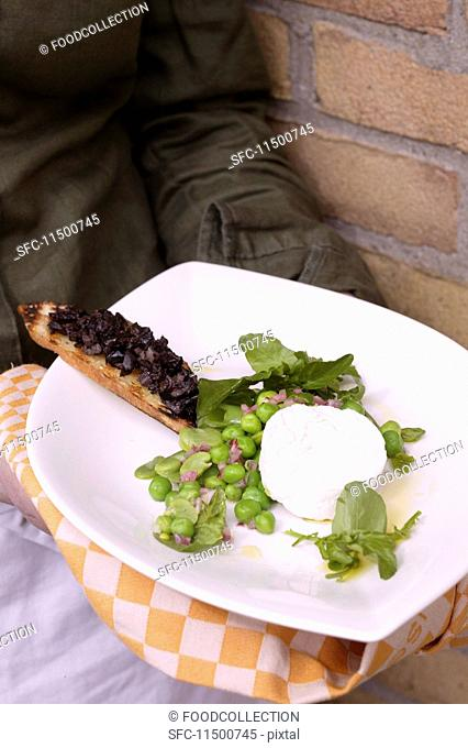 Goat's cheese with olives and grilled bread on a plate