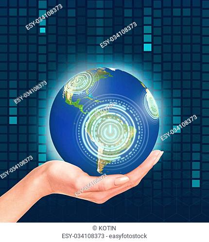 Planet earth in a human hand. Elements of this image furnished by NASA
