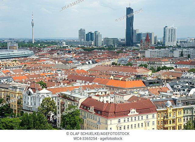 Vienna, Austria, Europe - Overview from the Wiener Prater big wheel of the Stuwerviertel district looking towards Donaucity with the DC Tower I