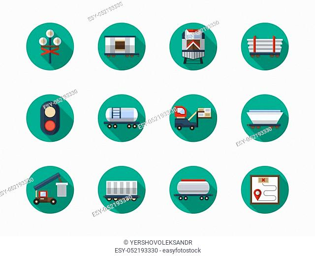 Set of different types of railroad cars and logistics element. Cargo train, railway traffic. Collection of stylish round flat color vector icons
