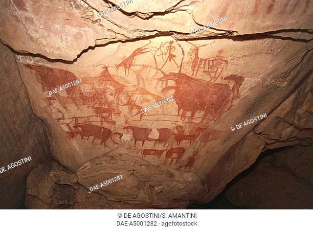 Painting depicting hunting scenes, Saharan rock art, Enneri Tougwi, Tibesti, Chad