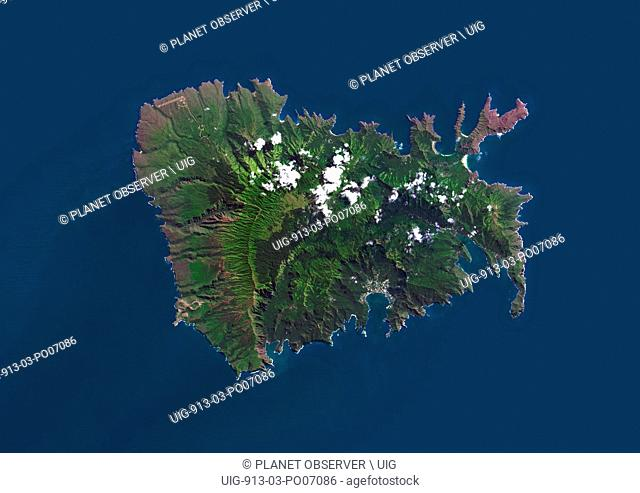 Satellite view of Nuku Hiva, the largest of the Marquesas Islands in French Polynesia. This image was compiled from data acquired by Landsat 8 satellite in 2014