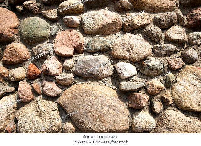 part of the old building wall, a fortress made of stones