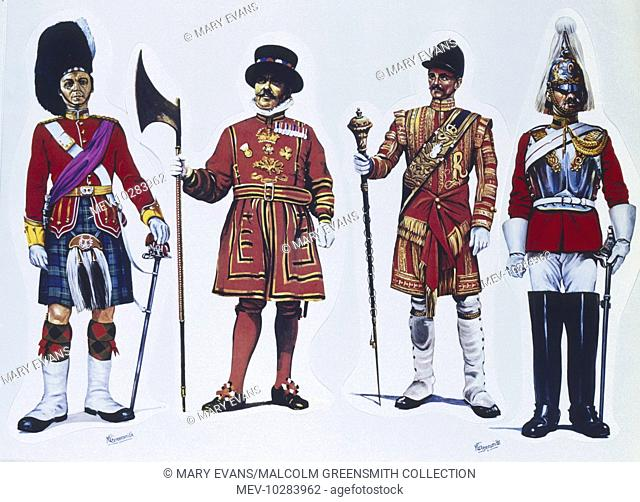 (Left to right) Officer from the Gordon Highlanders - A Yeoman Warder of the Tower of London (Yeoman Gaoler) - Drum Major from The Grenadier Guards - Corporal...