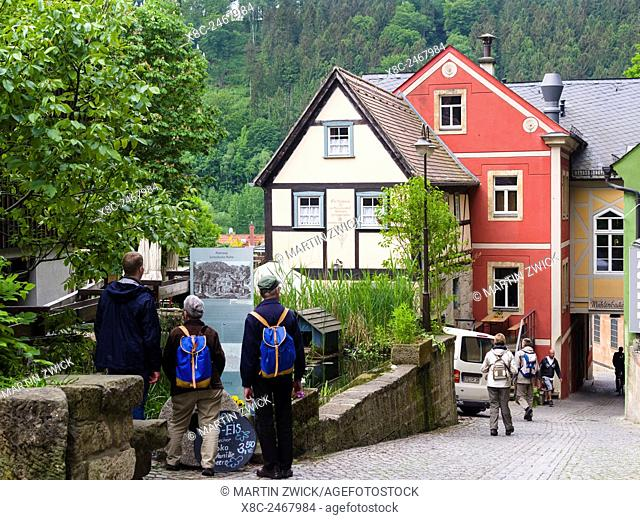 Half timbered buidlings in the village of Schmilka, saxon switzerland, near the National Park. Traditional houses in Saxony