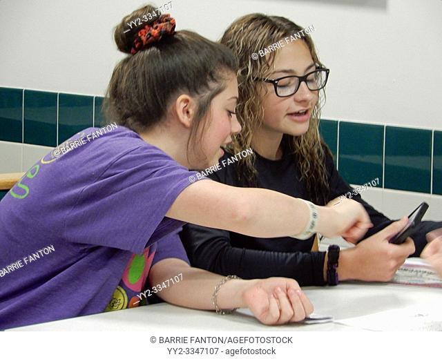 7th Grade Girls Using Smart Phone, Wellsville, New York, USA