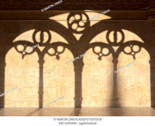 The two storied cloister. Mosteiro dos Jeronimos (Jeronimos Monastery, Hieronymites Monastery) in Belem, listed as UNESCO world heritage