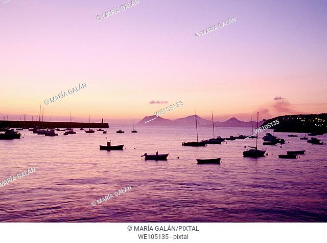 Harbour at dawn. Castro Urdiales, Cantabria province, Spain