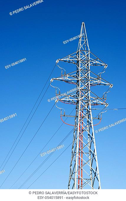 Power line with clear blue sky