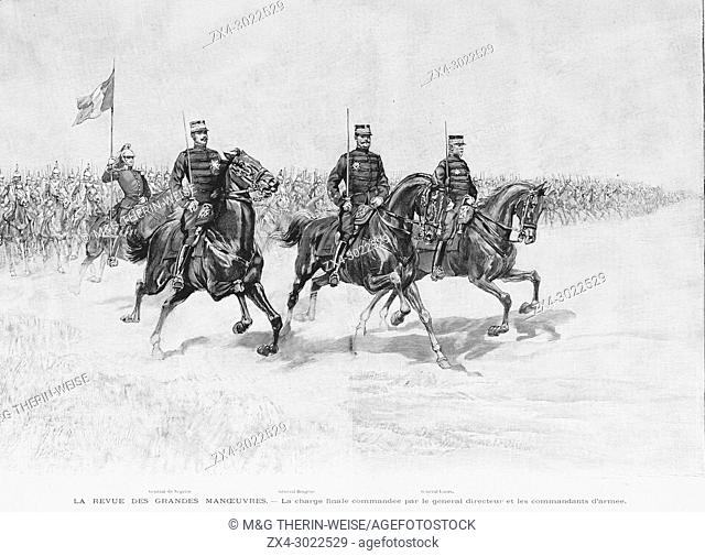 Final horses charge during the 1900 French military exercise, Picture from the French weekly newspaper l'Illustration, 29th September 1900