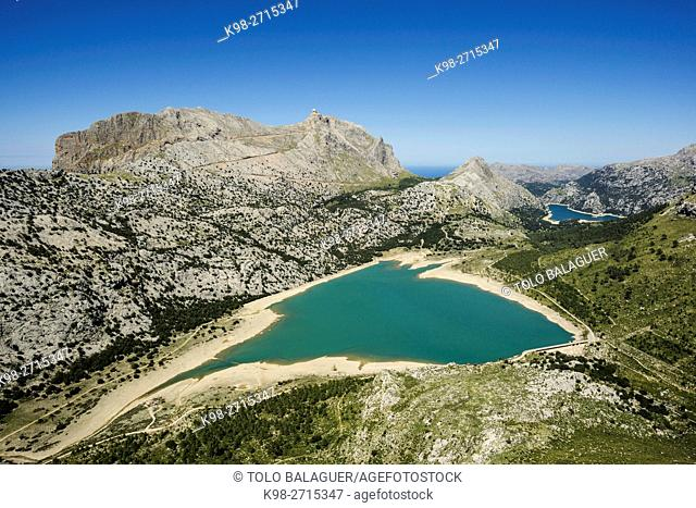 Cuber and Gorg Blau, artificial water reservoir located on the slopes of Puig Major, Escorca, natural park of Sierra de Tramuntana, Majorca, Balearic Islands