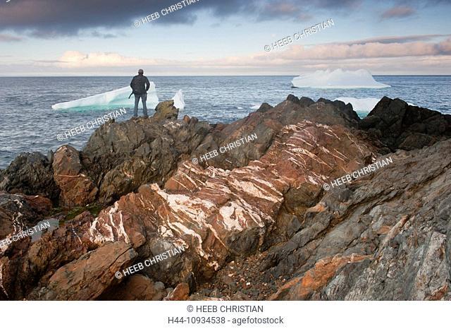 Icebergs, iceberg, floating, Crow Head, Twillingate, Newfoundland, Canada, sunset, ice, nature, man