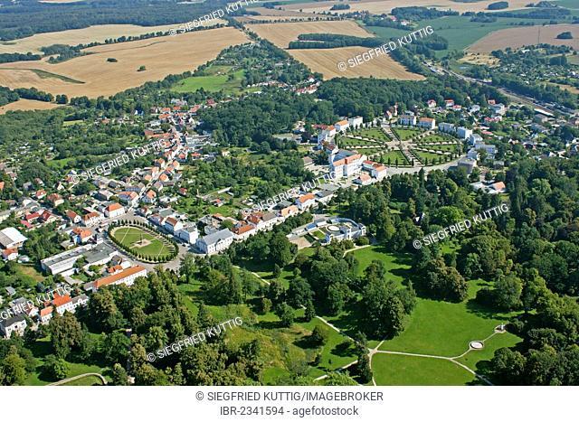 Aerial view, market and circus settlement, Putbus, Ruegen Island, Mecklenburg-Western Pomerania, Germany, Europe