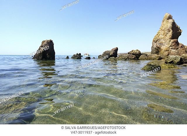 Idyllic and lonely beach, virgin beach of Mazarrón, Murcia, Spain, Europe