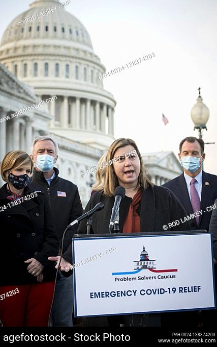 United States Representative Elissa Slotkin (Democrat of Michigan) joins members of the Problem Solvers Caucus for a press conference regarding the current...