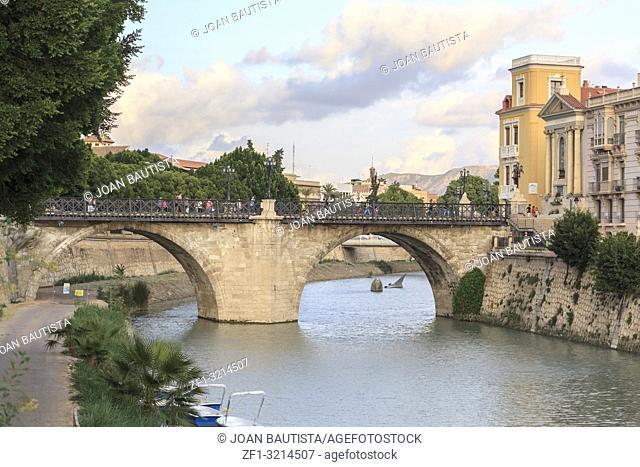 City view, arched stone bridge,Puente de los Peligros over Segura river,Murcia,Spain