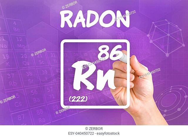 Symbol for the chemical element radon
