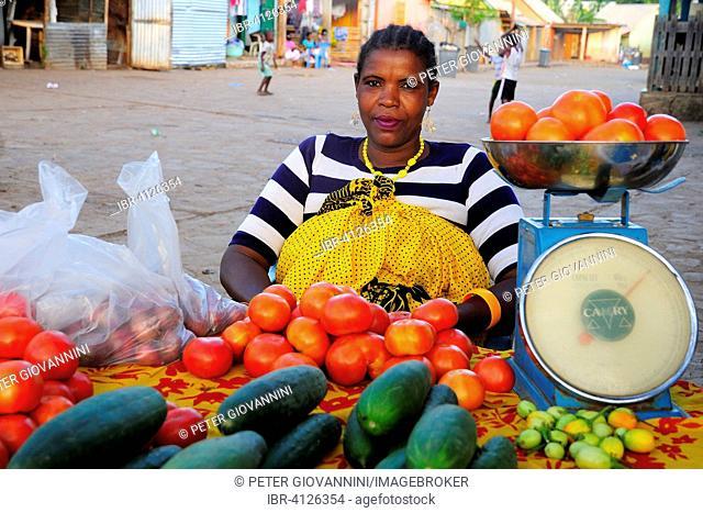 Vegetable seller, vegetable stand on the street, Kangani, Mayotte