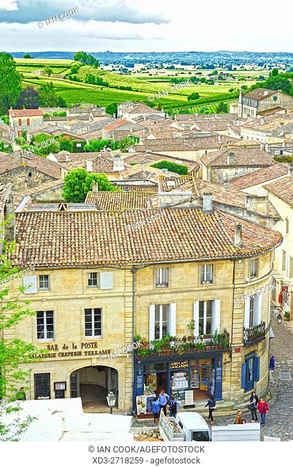 view of Saint-Emilion from Monolithic Church, Gironde Department, Aquitaine, France