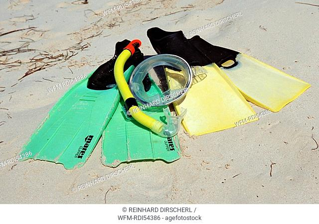 Fins and mask on the beach, Punta Cana Caribbean, Dominican Republic