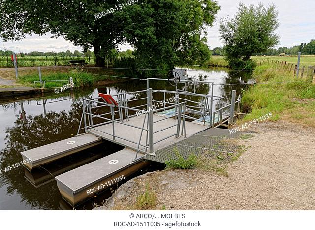 self-driving ferry over the stream Niers, Wachtendonk, Kleve, NRW, Germany, Europe