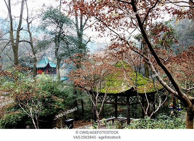 Changsha, Hunan province, China - The view of Aiwan Pavilion in the middle of woods