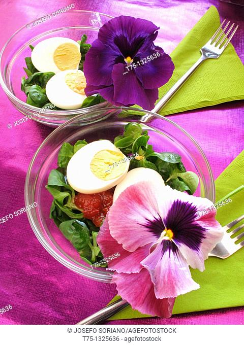 Salad with flowers and petals thoughts