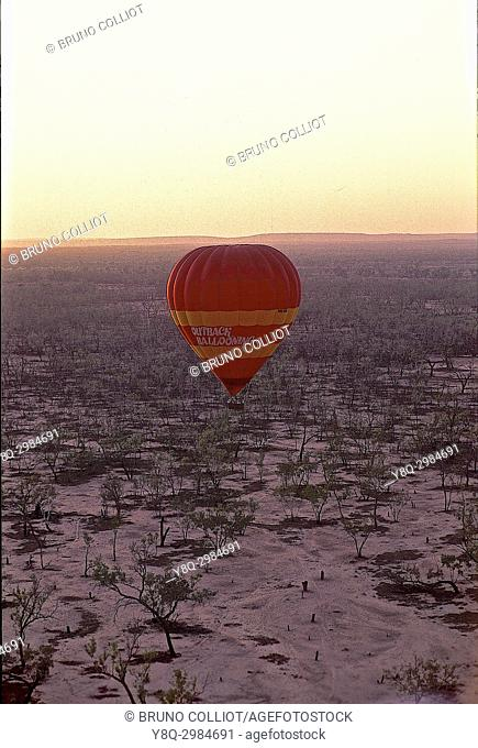 flying over the simpson desert in a balloon. southern australia
