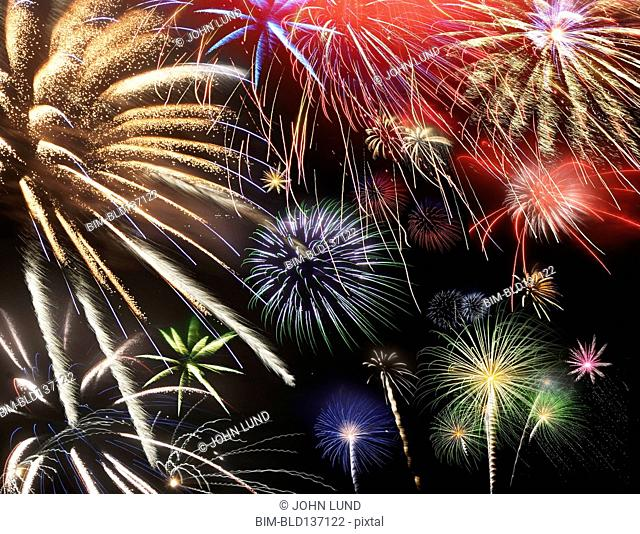 Fireworks exploding in night sky