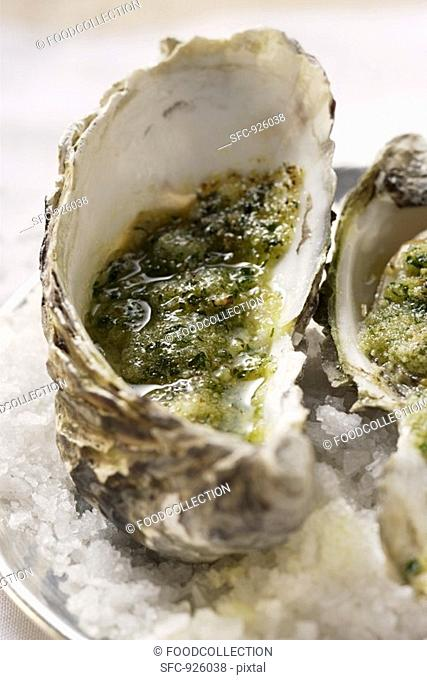 Baked oysters with herb breadcrumbs