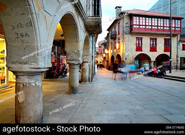 Arcade in old city of Pontevedra, Spain