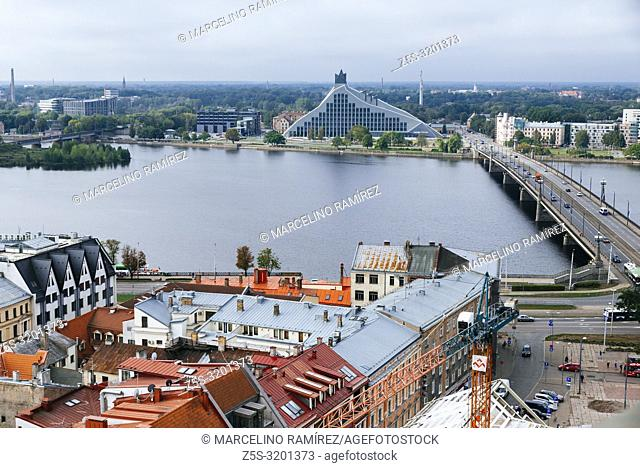 Riga old town from St. Peter's Church. The two banks of river Daugava, Latvia, Baltic states, Europe