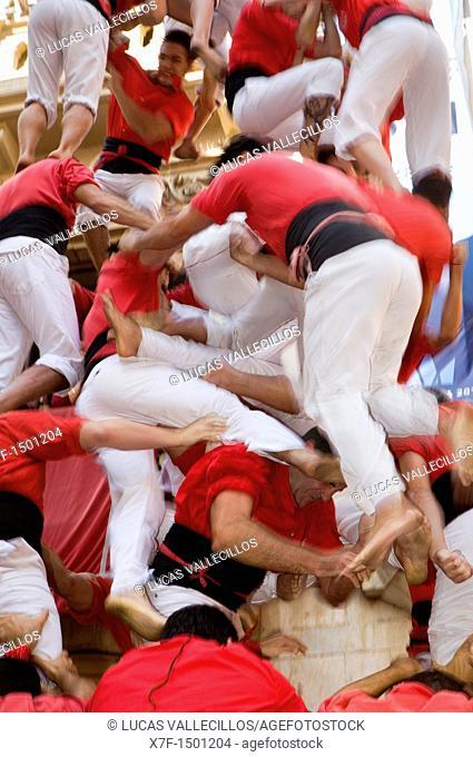 Castellers Colla Joves Xiquets de Valls  Human tower falling 'Castellers' is a Catalan tradition Fira de Santa Úrsula Valls  Tarragona province, Spain
