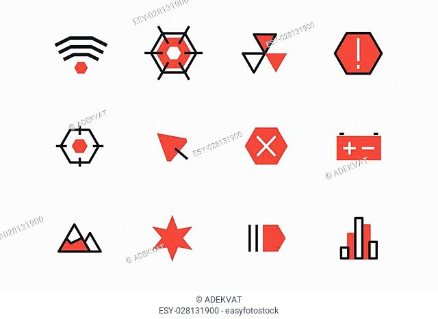 Outline UI technology icons set. Web net vector ui hud gui user interface for web and mobile. Application, web interface, GUI interface, UI interface icons
