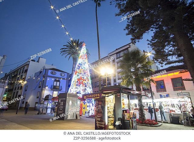 La Laguna Tenerife Canary islands on January 3, 2019: Christmas lights in a busy city