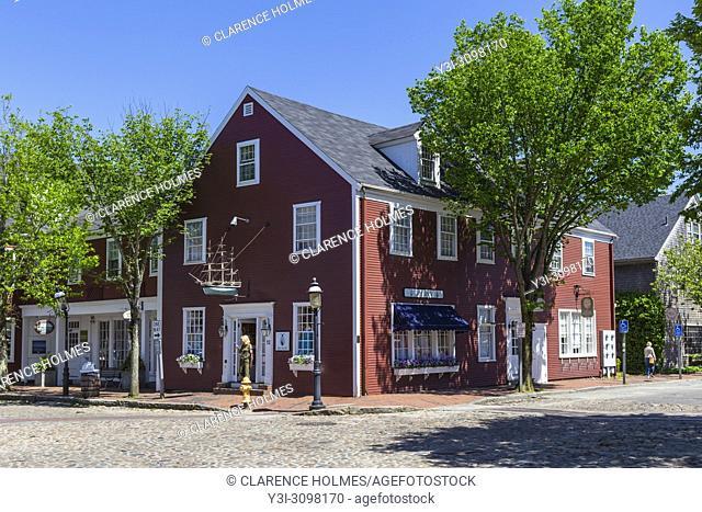 Shops at Straight Wharf and Main Street in Nantucket, Massachusetts
