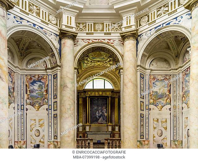 Interior view of the church Tempo Sante Croce at Riva San Vitale in Ticino