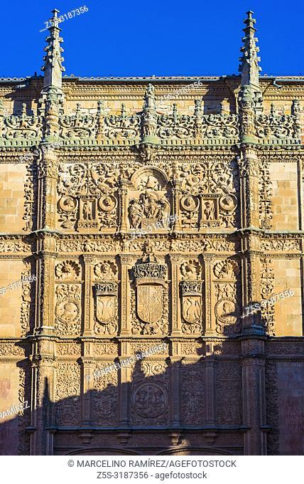 Plateresque facade of the University. Salamanca, Castilla y Leon, Spain, Europe