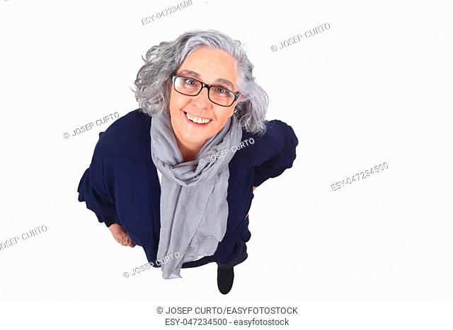 portrait of a woman on white background