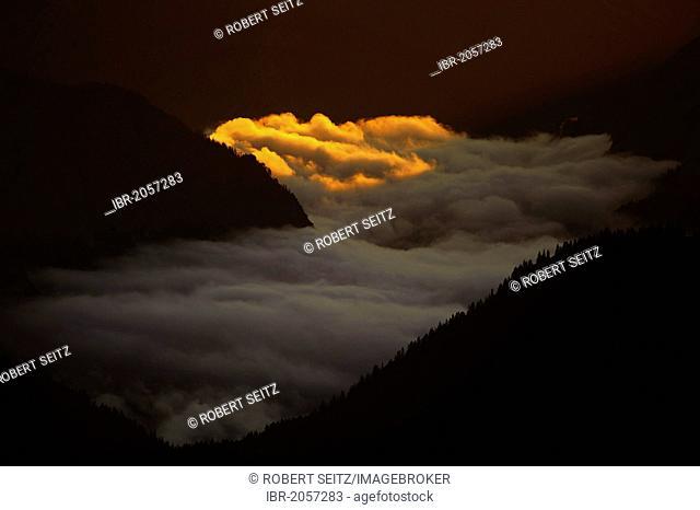 Misty valley with sunspots, Reutte, Ausserfern, Tyrol, Austria, Europe